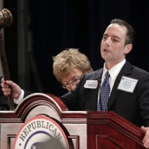 The new elected Republican National Committee (RNC) Reince Priebus holds up a gavel after winning the post during the Republican National Committee Winter Meeting, Friday, Jan. 14, 2011in Oxon Hill, Md. Priebus was elected after seven rounds of voting, beating four other candidates, including outgoing chairman Michael Steele.(AP Photo/Pablo Martinez Monsivais)