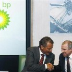 BP chairman Carl-Henric Svanberg shakes hands with Rosneft president Eduard Khudainatov at BP headquarters in London
