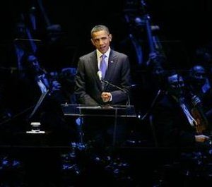 President Barack Obama makes remarks at a kickoff concert for a celebration of the 50th anniversary of the late President John F. Kennedy's inauguration, at the Kennedy Center concert hall in Washington, January 20, 2011. REUTERS/Jonathan Ernst
