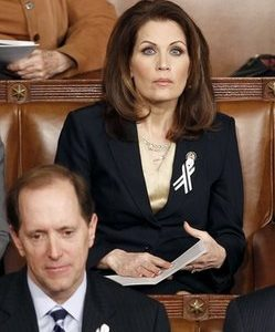 Rep. Michele Bachmann, R-Minn. watches President Barack Obama's State of the Union address in Washington, Tuesday, Jan. 25, 2011.  (AP Photo/Evan Vucci)