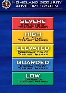 In this March 12, 2002 file photo, the color-coded terrorism warning system is shown in Washington. By the end of April, terror threats to the U.S. will no longer be described in shades of green, blue, yellow, orange and red, The Associated Press has learned Wednesday, Jan. 26, 2011. (AP Photo/Joe Marquette, File)