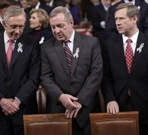 From left, Senate Majority Leader Harry Reid of Nev., Senate Majority Whip Richard Durbin of Ill., and Sen, Mark Kirk, R-Ill., are seen on Capitol Hill in Washington, Tuesday, Jan. 25, 2011, during President Barack Obama's State of the Union address.  (AP Photo/Pablo Martinez Monsivias, Pool)