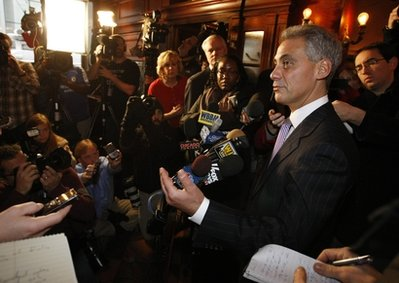 Rahm Emanuel speaks at a news conference in Chicago Monday, Jan. 24, 2011. An Illinois appeals court threw the former White House chief of staff off the ballot for Chicago mayor because he didn't live in the city in the year before the election. The court voted 2-1 to overturn a lower-court ruling that would have kept Emanuel's name on the Feb. 22 ballot. (AP Photo/Charles Rex Arbogast)
