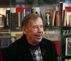 In this photo taken Thursday, Feb. 3, 2011, former President of the Czech Republic Vaclav Havel answers questions about anti-government protests in Egypt, North Africa and the Middle East during an interview with The Associated Press in Prague, Czech Republic. Two figures who helped shape the Soviet collapse - former Czech president Vaclav Havel and former Soviet foreign minister Eduard Shevardnadze - are watching the Middle East drama with excitement and nostalgia, but warn Cairo 2011 may not be Berlin 1989. (AP Photo/Petr David Josek)