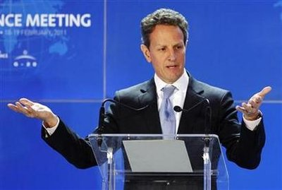 Treasury Secretary Geithner addresses a news conference at the end of the G20 finance meeting in Paris