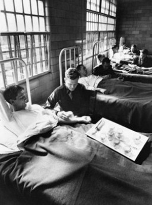 In this June 25, 1945 picture, army doctors expose patients to malaria-carrying mosquitoes in the malaria ward at Stateville Penitentiary in Crest Hill, Ill. Around the time of World War II, prisoners were enlisted to help the war effort by participating in studies that could help the troops. A series of malaria studies at Stateville Penitentiary in Illinois and two other penitentiaries were designed to test antimalarial drugs that could help soldiers fighting in the Pacific. Shocking as it may seem, government doctors once thought it was fine to experiment on disabled people and prison inmates. (AP Photo/File)