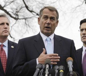 House Speaker John Boehner of Ohio, center, with House Majority Leader Eric Cantor of Va., right, and House Majority Whip Kevin McCarthy of Calif., speaks to reporters outside the White House in Washington. Friday night, Feb. 11, House Republicans called for cuts in hundreds of government programs in a $61 billion savings package, which is expected to reach the House floor for a vote next week. From education to job training, environment and nutrition, few domestic programs are untouched. In it Americorps and the Corporation for Public Broadcasting are targeted for elimination; spending on defense and veterans' programs are protected. (AP Photo/Charles Dharapak, File)