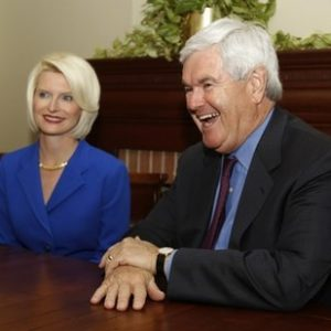 Former House Speaker Newt Gingrich, R-Ga., speaks as his wife Callista looks on during a meeting with Gov. Nathan Deal in the Governor's office Thursday March 3, 2011 in Atlanta. Gingrich said he is launching a website to explore a run for president.(AP Photo/John Bazemore)