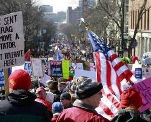 Angry voters rally in Wisconsin (Reuters)