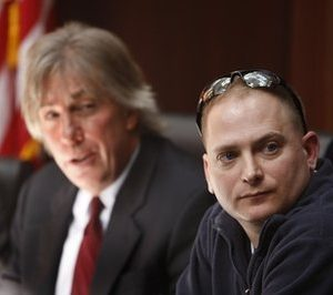"In this March 3, 2010 file photo, attorney Geoffrey Fieger, left, and Master Sgt. Jeffrey Sarver are seen during a news conference in Southfield, Mich. Sarver, a bomb disposal expert who served in the Iraq war filed a lawsuit against the makers of the film ""The Hurt Locker."" (AP Photo/Carlos Osorio, file)"