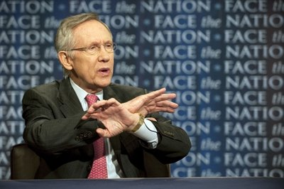 "Sen. Harry Reid, D-Nev., talks about the possibility of a government shutdown over a budget impasse and U.S. military action in Libya on CBS's ""Face the Nation"" in Washington Sunday, April 3, 2011. (AP Photo/CBS, Chris Usher)"