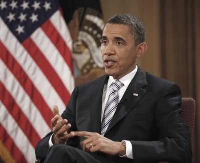 President Barack Obama gestures during his interview with The Associated Press, Friday, April 15, 2011, in Chicago. (AP Photo/Pablo Martinez Monsivais)