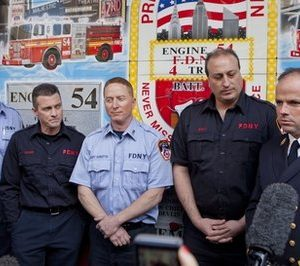 From left, Captain John McGee, firefighter Daniel Squire, Captain Thomas Venditto, firefighter Leonard Sieli and Battalion Chief Jack Joyce answer questions from the media outside the fire station for Engine 54 Ladder 4 Battalion 9  with President Barack Obama on Thursday, May 5, 2011 in New York.    President Obama came to New York to meet with the firefighters and to visit ground zero after announcing that US Forces had killed Osama Bin Laden on Sunday, May 1, 2011. (AP Photo/Andrew Burton)