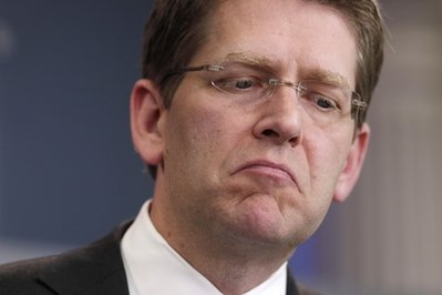 White House Press Secretary Jay Carney pauses during his daily news briefing at the White House in Washington, Tuesday, May 3, 2011. (AP Photo/Carolyn Kaster)
