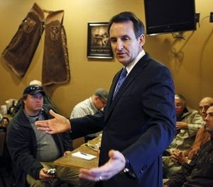 Former Minnesota Gov. Tim Pawlenty speaks to local residents during a breakfast meeting at a Pizza Ranch restaurant, Tuesday, May 3, 2011, in Ames, Iowa. (AP Photo/Charlie Neibergall)