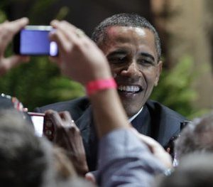 President Barack Obama shakes hands with supporters after speaking at the Austin City Limits Live at the Moody Theater, Tuesday, May 10, 2011, in Austin, Texas.  (AP Photo/Eric Gay)