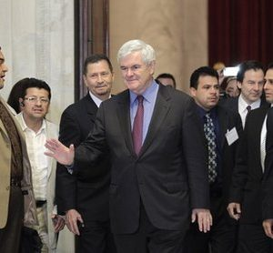 Former House Speaker Newt Gingrich leaves an Hispanic prayer breakfast on Capitol Hill in Washington, Wednesday, May 11, 2011. Gingrich is expected to make a formal announcement soon about running for president.  (AP Photo/J. Scott Applewhite)