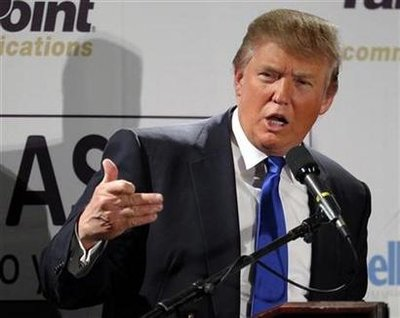 Businessman and possible Republican Presidential candidate Donald Trump speaks at the Greater Nashua Chamber of Commerce Expo luncheon in Nashua