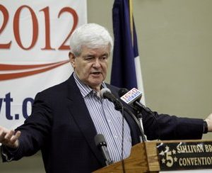 Former House Speaker Newt Gingrich speaks to local party activists. (AP Photo/Charlie Neibergall)