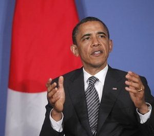 President Barack Obama speaks to reporters as he meets with Japan's Prime Minister Naoto Kan at the G8 summit in Deauville, France, Thursday, May 26, 2011. (AP Photo/Charles Dharapak)