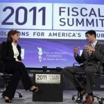 Paul Ryan, Chairman of the House Budget Committee, speaks with moderator Maria Bartiromo at the 2011 Fiscal Summit on Solutions for America's future in Washington, May 25, 2011.  (REUTERS/Jason Reed)