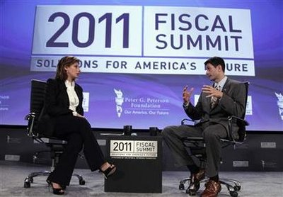 Ryan speaks to Bartiromo at the 2011 Fiscal Summit on Solutions for America's future in Washington