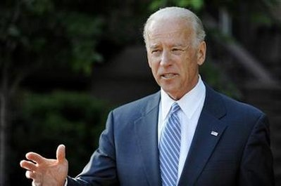 Vice President Biden talks to reporters at the Blair House in Washington
