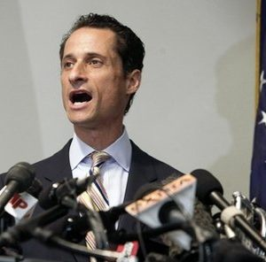 U.S. Rep. Anthony Weiner announces his resignation from Congress, in the Brooklyn borough of New York,  Thursday, June 16, 2011. Weiner resigned from Congress, saying he cannot continue in office amid the intense controversy surrounding sexually explicit messages he sent online to several women. (AP Photo/Richard Drew)