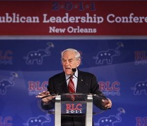 Republican presidential hopeful, Rep. Ron Paul, R-Texas, speaks at the Republican Leadership Conference in New Orleans, Friday, June 17, 2011. (AP Photo/Patrick Semansky)