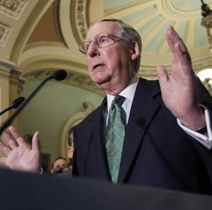 Senate Minority Leader Mitch McConnell, of Kentucky, speaks to the media after their caucus luncheon on Capitol Hill Tuesday, June 14, 2011 in Washington.(AP Photo/Alex Brandon)