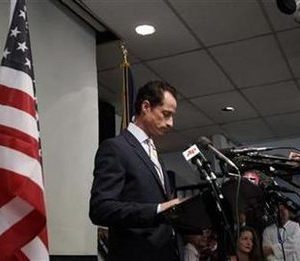 Representative Anthony Weiner (D-NY) announces that he will resign from the U.S. House of Representatives during a news conference in Brooklyn, New York, June 16, 2011.  REUTERS/Shannon Stapleton