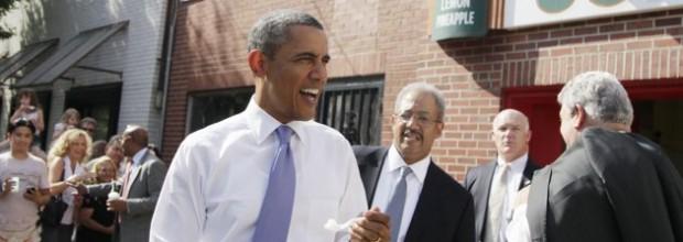 Obama splits town