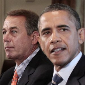 House Speaker John Boehner of Ohio listens at left as President Barack Obama speaks during a meeting with Congressional leadership to discuss the debt, Thursday, July 7, 2011, in the Cabinet Room of the White House in Washington. (AP Photo/Pablo Martinez Monsivais)