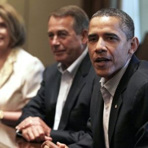 President Barack Obama, right, House Democratic Leader Nancy Pelosi of Calif., left, and House Speaker John Boehner of Ohio, center, meet with Congressional leadership in the Cabinet Room of the White House, Sunday, July 10, 2011, in Washington, to discuss the debt. (AP Photo/Carolyn Kaster)