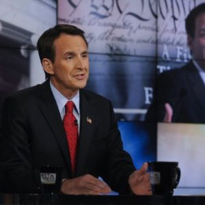 "Republican presidential candidate and former Minnesota governor Tim Pawlenty speaks on NBC's ""Meet the Press"" in Washington, Sunday, July 10, 2011. (AP Photo/NBC News, William B. Plowman)"