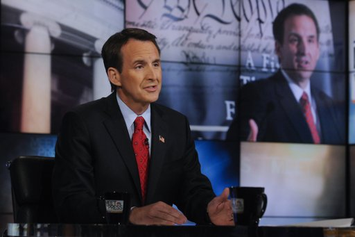 """Republican presidential candidate and former Minnesota governor Tim Pawlenty speaks on NBC's """"Meet the Press"""" in Washington, Sunday, July 10, 2011. (AP Photo/NBC News, William B. Plowman)"""