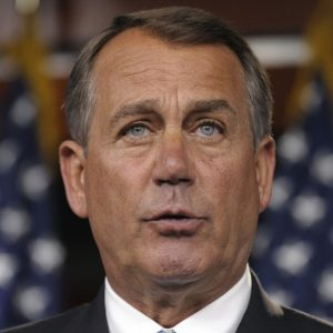 House Speaker John Boehner of Ohio speaks to reporters on Capitol Hill in Washington, Monday, July 11, 2011, as the debt talks continued. (AP Photo/Susan Walsh)
