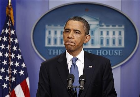 President Obama: Glum's the word (Reuters)