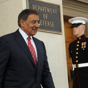 Secretary of Defense Leon Panetta walks out to greet John Key, Prime Minister of New Zealand, at the Pentagon Thursday, July 21, 2011 in Washington.(AP Photo/Alex Brandon)