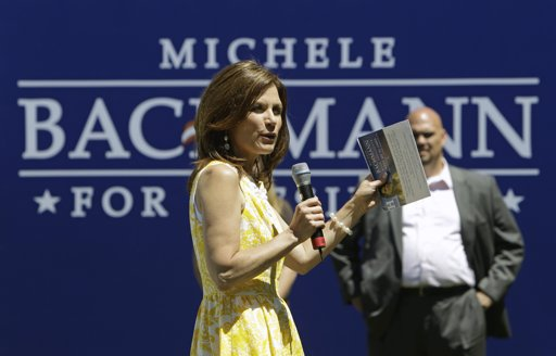 Republican presidential candidate Rep. Michele Bachmann, R-Minn., speaks during a rally at the Delaware County fairgrounds in Manchester, Iowa, Monday, July 25, 2011. After months of playing nice Bachmann and fellow Minnesotan Tim Pawlenty have started criticizing each other, reflecting the importance of the next few weeks of campaigning leading to the Iowa Straw poll. (AP Photo/Charlie Neibergall)