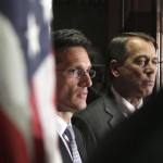 House Speaker John Boehner of Ohio, right, and House Majority Leader Eric Cantor of Va., look on during a news conference at The Republican National Committee on Capitol Hill in Washington, Tuesday, July 26, 2011. (AP Photo/Carolyn Kaster)