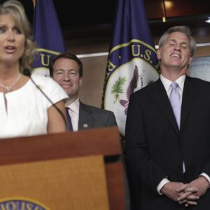 House Republican leaders hold a news conference on Capitol Hill in Washington, Thursday to discuss the debt crisis showdown. From left are, Rep. Renee Ellmers, R-N.C., Rep. Peter Roskam, R-Ill, and House Majority Whip Kevin McCarthy of Calif. (AP Photo/J. Scott Applewhite)