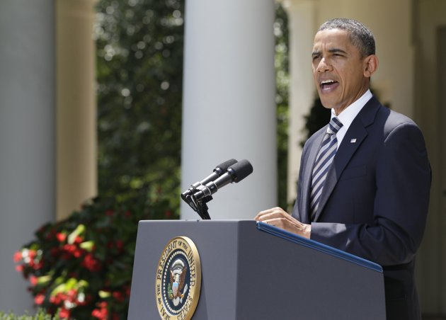President Barack Obama delivers a statement in the Rose Garden of the White House in Washington, Tuesday, Aug. 2, 2011, following the Senate's passing of the debt ceiling agreement. (AP Photo/Carolyn Kaster)