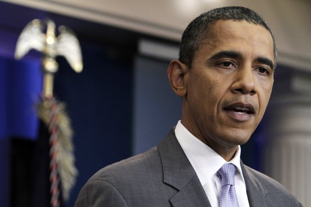 President Barack Obama speaks from the White House briefing room, Sunday, July 31, 2011, in Washington, about a deal being reached to raise the debt limit. (AP Photo/Jacquelyn Martin)