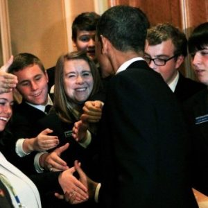 "President Barack Obama shakes hands with congressional pages after a meeting at the Capitol in 2010 in Washington, DC. Bringing the curtain down on a nearly 200-year-old tradition, leaders of the US House of Representatives announced that they were doing away with the chamber's ""page"" program (AFP)"