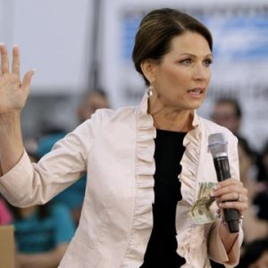 Republican presidential candidate, Rep. Michele Bachmann, R-Minn. speaks during a campaign stop at the Competitive Edge plant in Clive, Iowa, Wednesday, Aug. 10, 2011. (AP Photo/Charlie Neibergall)