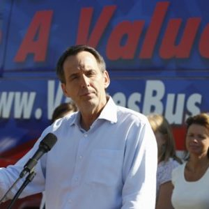 Republican presidential candidate, former Minnesota Gov. Tim Pawlenty speaks at a campaign stop at the Family Research Council Action, National Organization for Marriage, and Susan B. Anthony List Values Bus Tour Kickoff, at the Iowa State Capitol in Des Moines, Iowa, Tuesday, Aug. 9, 2011.