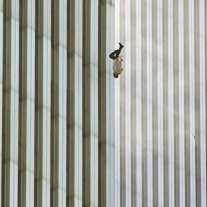In this Tuesday, Sept. 11, 2001 file picture, a person falls headfirst from the north tower of New York's World Trade Center. (AP Photo/Richard Drew)