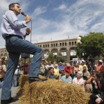 Republican presidential candidate, former Minnesota Gov. Tim Pawlenty campaigns at the Iowa State Fair in Des Moines, Iowa, Friday, Aug. 12, 2011. (AP Photo/Charles Dharapak)