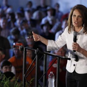 Republican presidential candidate Rep. Michele Bachmann, R-Minn. speaks to her supporters at the Republican Party's Straw Poll in Ames, Iowa, Saturday, Aug. 13, 2011. (AP Photo/Charles Dharapak)